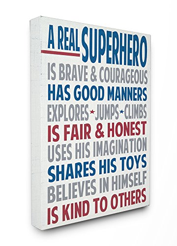 The Kids Room by Stupell A Real Superhero Typography Canvas Art, 16 x 1.5 x 20, Proudly Made in (Child Framed Canvas)