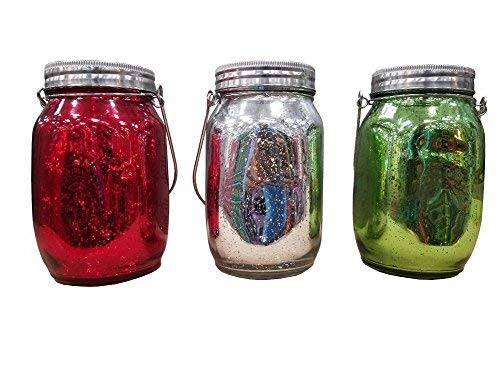 - Inside Out Holiday Set of 3 Colored Holiday Jars with LED Lights
