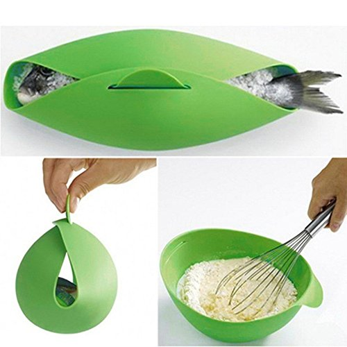 UONLY Multifunctional Silicone Fish Steamer Cooker Baking Roaster Bread Food Vegetable Bowl Basket Kitchen Cooking Tools Green