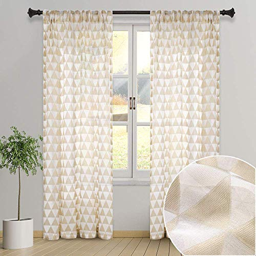 GRALI Country Style Pattern Curtains, Creative Triangle Semi-Sheer with Rod Pocket, Voile Panels for Sliding Glass Door, W52 x L84, 2 Pcs, Tan (Creative Window Treatments For Sliding Glass Doors)