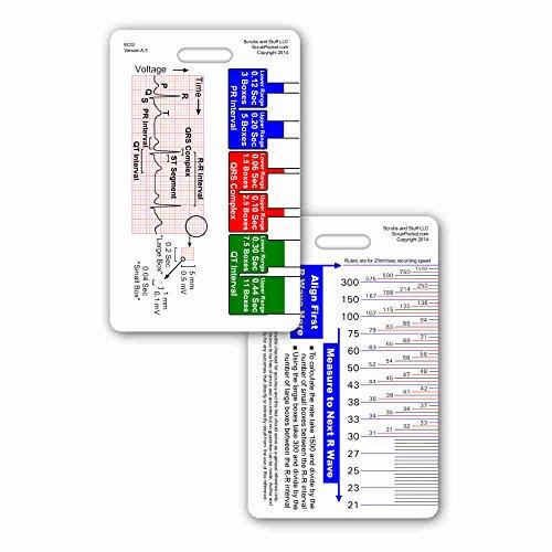 EKG Ruler Vertical Badge ID Card Pocket Reference Guide ECG ()