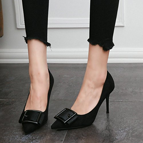 Winter Sexy High Single Autumn Shoes Women In Black Shoes And Suede Top And Heel Shoes Elegant KHSKX Simple vYOdqwFRF
