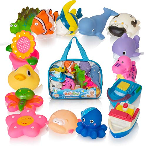 Next Milestones Bath Toys for Toddlers - 15pcs Little Squirts Pool Toy Water Fun Bath Tub Toys, Assorted Characters for Boys and Girls