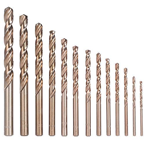 (Migiwata Metric M35 Cobalt Steel Extremely Heat Resistant Twist Drill Bits with Straight Shank Set of 13pcs to Cut Through Hard Metals Such as Stainless Steel and Cast)