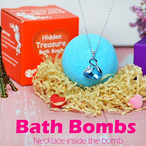 Bath Fizzer Gift - Bath Bomb with Swan Lake Necklace Surprise Jewelry Swarovski Crystal Inside for Women Lush Bubble Fizzies Bath Bombs Gift Set for Kids Love Natural Bath Fizzers for Wedding