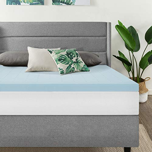 Best Price Mattress 2.5 Inch Gel Memory Foam Bed Topper with Cooling Mattress Pad Queen Blue