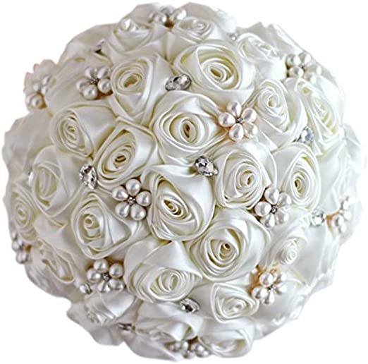Amazon Com Ivory Rose Flower Bridal Brooch Bouquet Wedding Bride