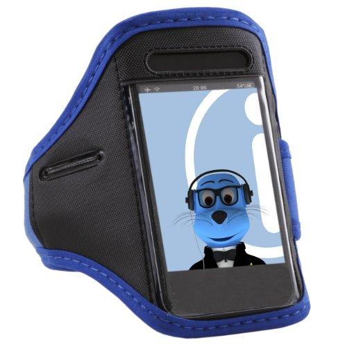 iTALKonline Alcatel Pop D5 Blue Black Adjustable Water / Moisture Resistant Sports GYM Jogging Running ArmBand Arm Band Case Cover with Key Money Headphone Pocket