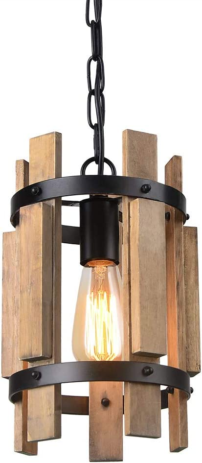 Giluta Wood Pendant Light Cylinder Chandelier Lamp Rustic Farmhouse Hanging Pendant Light Vintage Ceiling Light Fixture 1 Light, Light Brown P0038
