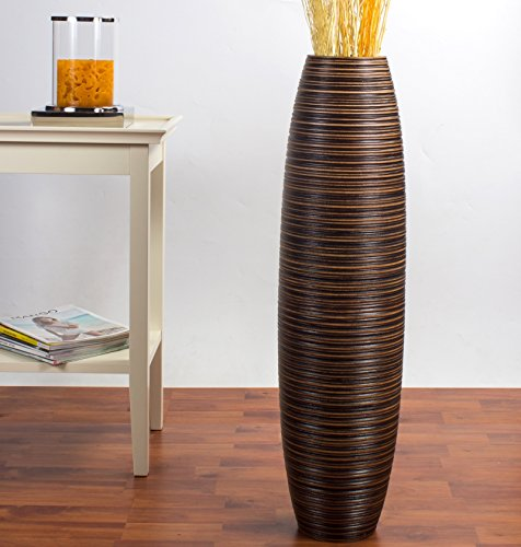 Leewadee Tall Floor Vase 30 inches, Wood, (Bulbous Lamp)