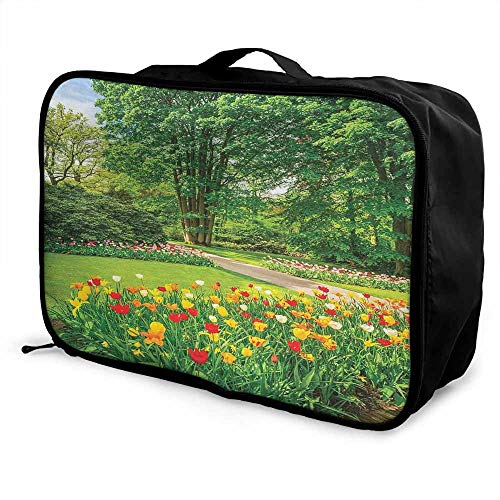 Country Decor Luggage trolley bag Garden in Keukenhof Colorful Tulip Flowers and Trees Foliage Spring in Netherlands Waterproof Fashion Lightweight