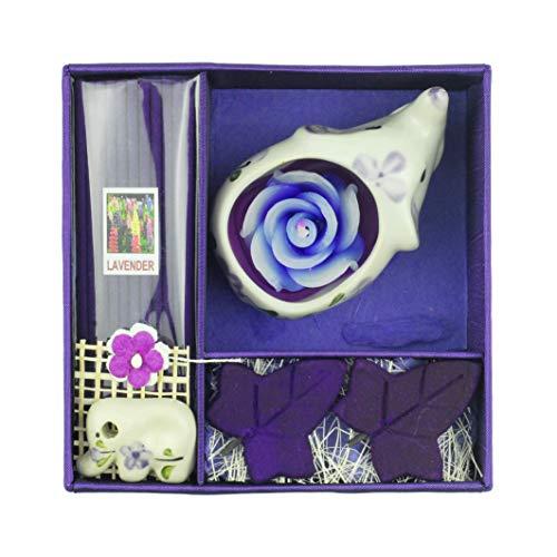 Tom Barrington Ceramic Elephant Tea Light Candle Holder with Lavender Scented Incense Set, Hand Painted