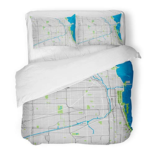 Emvency Decor Duvet Cover Set Twin Size Street Chicago Map Ultra Detailed Area City River Neighborhood Park Michigan Skyline 3 Piece Brushed Microfiber Fabric Print Bedding Set Cover