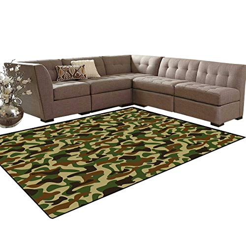 Camouflage Door Mats Area Rug Squad Uniform Design with Vivid Color Scheme Hunting Camouflage Pattern Anti-Skid Area Rugs 6