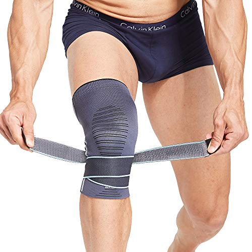 BERTER Knee Brace for Men Women Compression Sleeve Non-Slip Knee Support Stability Comfort for Running, Weightlifting, Baseball, Crossfit, Working Out (Compression Straps, Medium(15.5-17″))