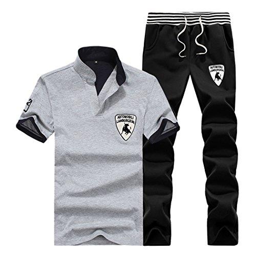 M-LORD (TM) Men's Outdoor Leisure Fashion Baseball Athletic Set V-Neck Shirt & Drawstring Pants W/B L