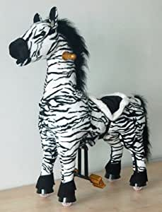 UFREE Horse Ride on Moving Zebra Giddy Up Mechanical Pony, Riding Horse Toy for Kids 3 to 5 Years Old