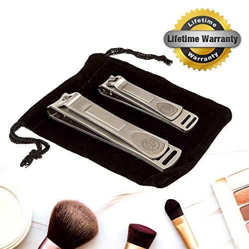 - Premium Nail Clipper Set - Stainless Steel Fingernail Clippers & Toenail Clippers - Built-in Nail Files - Velvet String Carrying Pouch - Professional Spa Quality Precision Nail Care Tools