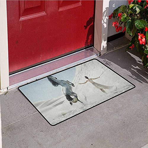 GloriaJohnson Horse Inlet Outdoor Door mat Pretty Lady with White Horse Rearing Up on The Desert Equestrian Mountains Mare Catch dust Snow and mud W19.7 x L31.5 Inch White Slate Blue