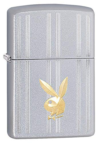 (Custom Personalized Brass Playboy Bunny Satin Chrome Windproof Lighter Free Engraving #29777)