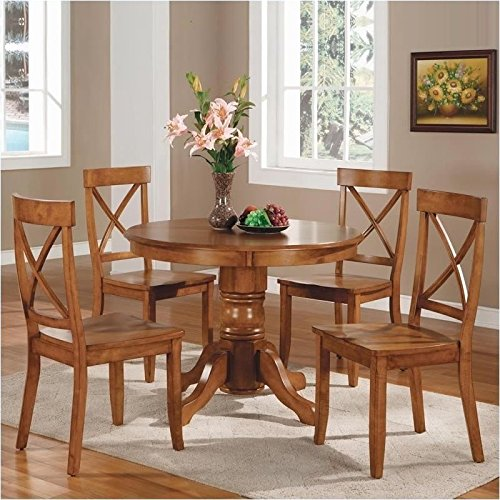 Home Styles 5179-318 5-Piece Dining Set, Cottage Oak Finish (Dining Set Round Pedestal compare prices)