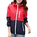 Miouke Womens Lightweight Windbreakers Sun Protection Outdoor Hooded Sports Outwear Quick Dry Jacket Lovers Coat,Red,US Size S(Tag Size L)