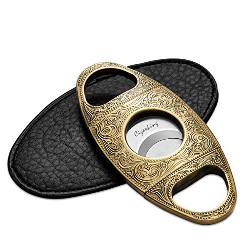CIGARLOONG Cigar Cutter Stainless Steel Bronze Engraved Double Cut Blade(Color:Gold1) by CIGARLOONG (Image #5)