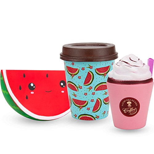 R • HORSE Cute Smile Watermelon, Watermelon Milk Tea, Cappuccino Set Kawaii Cream Scented Squishies Slow Rising Decompression Squeeze Toys for Kids or Stress Relief Toy (3 ()