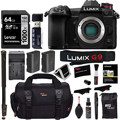 Panasonic Lumix G9 Mirrorless Camera Body 20.3 MP G9KBODY, Lexar 64GB High Speed SD Card U3, Polaroid 72