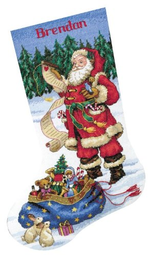 B0002I8OEE Dimensions Counted Cross Stitch ''Checking His List'' Personalized Christmas Stocking Kit, 14 Count White Aida, 16'' 51Zc3u2BxzNL
