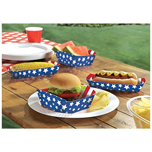 Red, White and Blue Stripes and Stars Paper Food Trays Patriotic 4th of July Party Disposable Serveware, 10