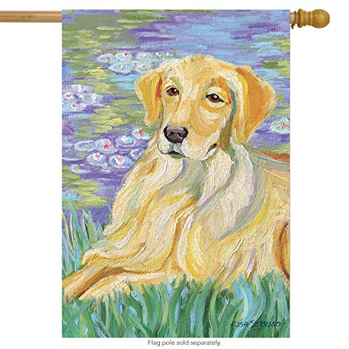 (Toland Home Garden Bonnet Golden Retriever 28 x 40 Inch Decorative Spring Puppy Dog Flower Portrait House Flag)