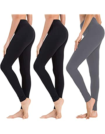 5cd418b6fd920c High Waisted Leggings for Women - Soft Athletic Tummy Control Pants for  Running Cycling Yoga Workout