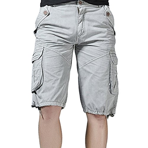 PASATO Clearance! Fashion Mens Casual Pocket Beach Work Casual Short Trouser Shorts, Classic Casual Pants(Gray, (Madras Style Plaid Pants)
