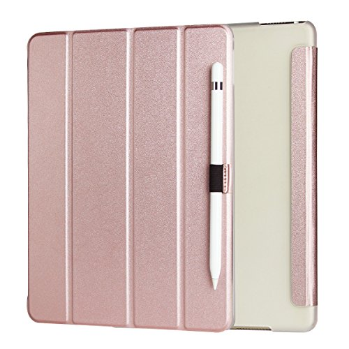 iPad Pro 9.7 Cases, iPad Pro Case, Valkit Rubber painting PU leather smart cover folio protective stand case with pencil holder skin bag for Apple iPad Pro 9.7 inch accessories, Rose Gold