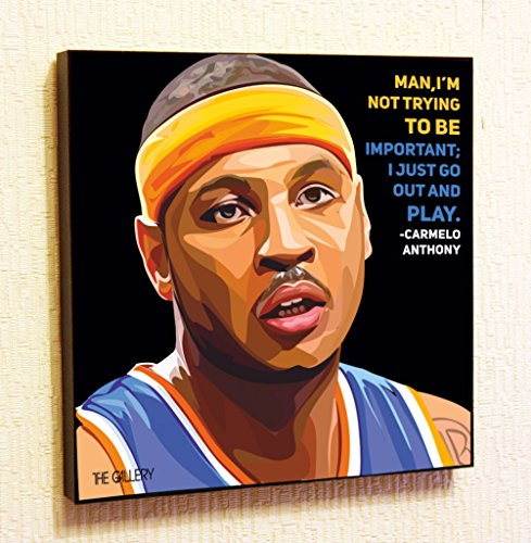 Carmelo Anthony NBA Backetball Motivational Quotes Wall Decals Pop Art Gifts Portrait Framed Famous Paintings on Acrylic Canvas Poster Prints Artwork (10x10