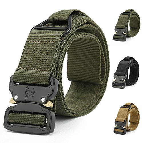 ATLES Tactical Belt, Military Style Quick Release Nylon Web Waist Belt Heavy Duty Riggers Belt with V-ring (Amy Green) - Green Tactical Utility Belt