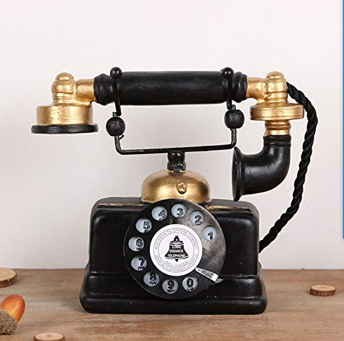 HoneyCare Large Creative Retro Decorative Phone Model, Vintage Rotary Telephone Decor Statue Artist Antique Phone Figurine Cafe bar Window Decor Model for Home Desk Decoration (7.48x6.3x3.94) by HoneyCare