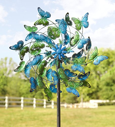 Wind & Weather KA6925 Metal Kinetic Butterfly Wind Spinner - Metal Whirligigs