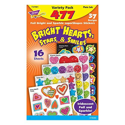 Bright Hearts, Stars, and Smiles Foil Bright Stickers Variety - Foil Sticker Stars Variety Pack