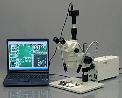 AmScope HL250-AY Dual-Gooseneck Fiber Optic Stereo Microscope Light, 150W Halogen Light Source, 110V-120V