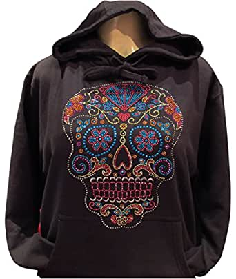 DAY OF THE DEAD RHINESTONE PULLOVER SWEATER BLACK (S)