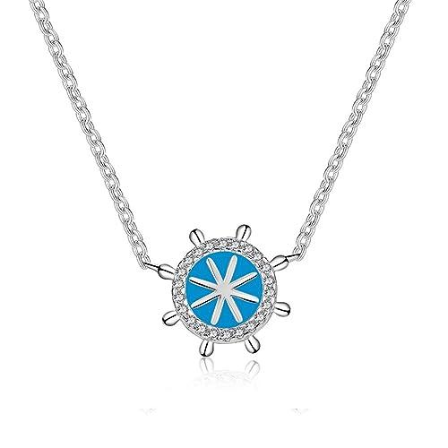 QIN-necklace Collar de Cadena de clavícula de Plata de Ley Que Comienza la Serie Colgante en Forma de Timbre Personalidad Accesorios refrescantes 40 cm + 5 ...