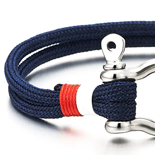 Mens Womens Steel Screw Anchor Shackles Nautical Sailor Navy Blue Rope Cord Wrap Bracelet Wristband Photo #6