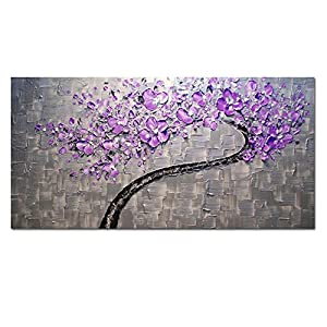 AtfArt Living Room Hall Wall Art Handmade Landscape Oil Paintings On Canvas  Silver Purple Tree Pictures For Living Room Home Decor (No Frame) Part 41