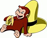 "Curious George Cartoon Car Bumper Sticker Decal 5""x 4"""