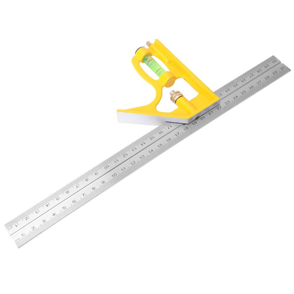 300 mm//11.8in Regla de /ángulo ajustable de acero inoxidable para carpinter/ía cuadrada juego de medidas de nivel de transportador deslizante Regla de /ángulo combinado