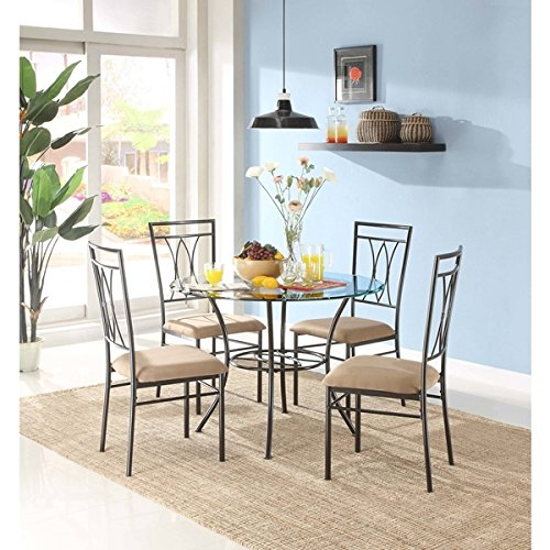 5-Piece Bistro Dining Room Set Solid Metal Glass Furniture Sets Tables & Chairs