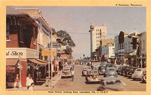 Lakeland Florida Main Street Scene Store Fronts Vintage Postcard - Stores Lakelands