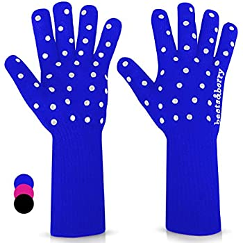 Beets & Berry Oven Gloves Heat Resistant Baking Gloves 1 Pair Oven Mitts Cut Resistant Cooking Gloves with Extra Long Sleeve & Silicone Non-Slip (Cobalt Blue)